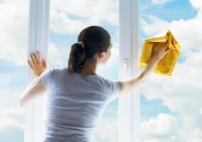 Homemaker cleaning windows